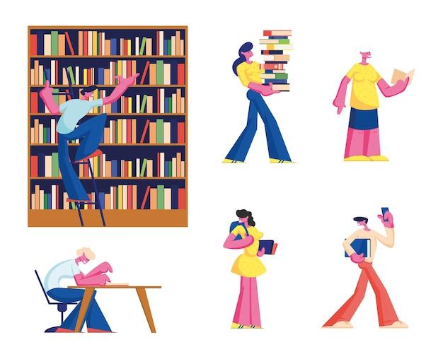 Zestaw młodych i starszych ludzi, czytanie w bibliotece. płaskie ilustracja kreskówka