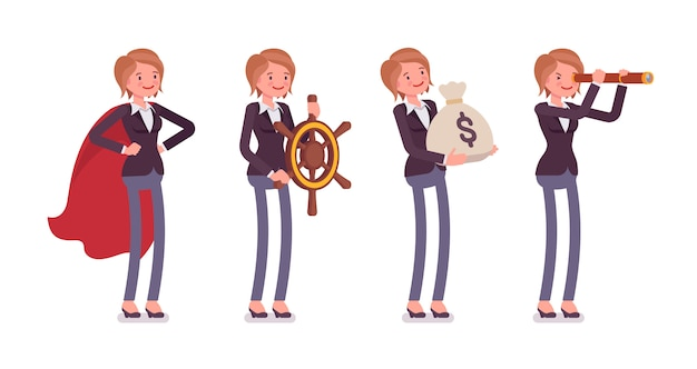 Zestaw młodych kobiet przystojny menedżera w różnych obrazów biznesowych