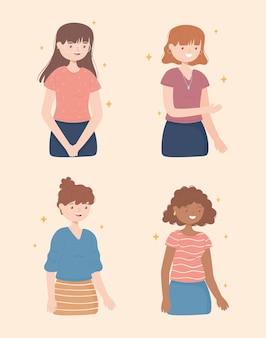 Zestaw młodych kobiet