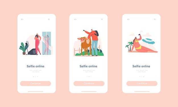 Zestaw młodych ludzi biorąc selfie koncepcja. szczęśliwe postacie męskie i żeńskie strzelać do zdjęć podczas letnich wakacji na plaży, trening na siłowni, mężczyzna z krową, para w nowym domu. ilustracja kreskówka wektor