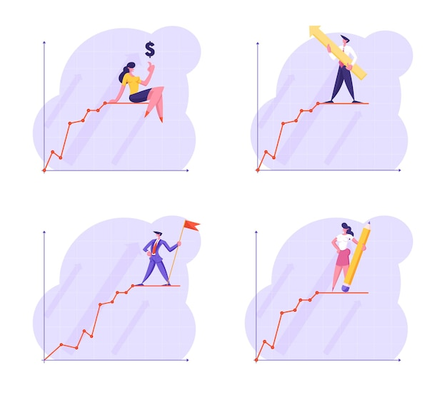 Zestaw młodych ludzi biznesu stoją na szczycie linii wykresu wzrostu finansowego
