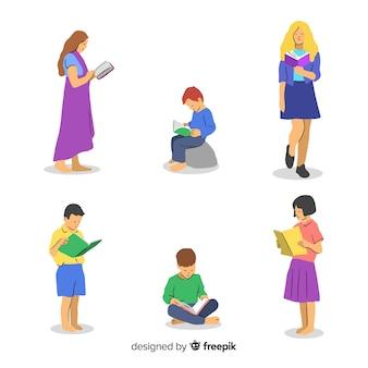 Zestaw młodych ludzi czytających