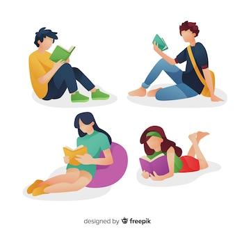 Zestaw młodych ludzi do czytania