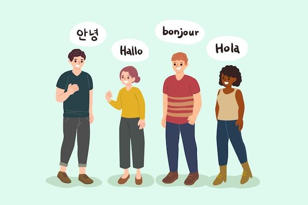 Zestaw młodych ludzi mówiących w różnych językach