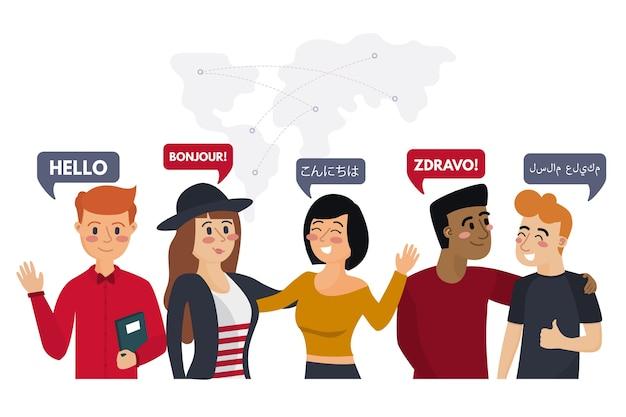 Zestaw młodych ludzi rozmawiających w różnych językach