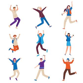 Zestaw młodych ludzi tańczących z nowoczesnym urządzeniem muzycznym
