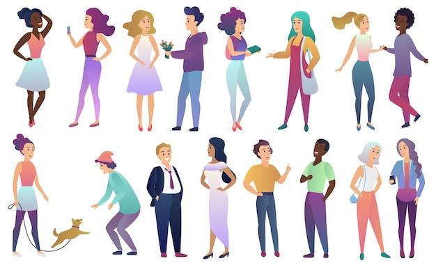 Zestaw młodych mężczyzn i kobiet w ubranie komunikują się ze sobą. nowoczesne płaskie znaki koloru gradientu na białym tle