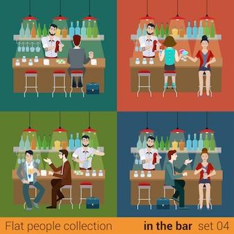 Zestaw młodych mężczyzn kobiety chłopak dziewczyna przyjaciele w barze i przygotowania drinka koktajlowego barmana. koncepcja sytuacji stylu życia płaskich ludzi. kolekcja ilustracji młodych twórczych ludzi.