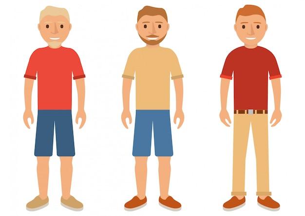 Zestaw młodych mężczyzn w letnich ubraniach w szortach, spodniach, koszuli i butach.