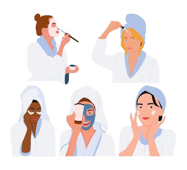 Zestaw młodych, międzynarodowych kobiet używających kosmetyków.