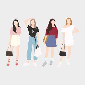 Zestaw młodych modnych kobiet, eleganckich dziewczyn. płaska konstrukcja. ilustracji wektorowych.