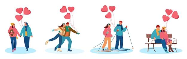 Zestaw młodych par zakochanych z balonów w kształcie serca obchodzi walentynki na zewnątrz. chodzenie w parze, jazda na łyżwach, narciarstwo biegowe, siedzenie na ławce w śnieżnym parku.