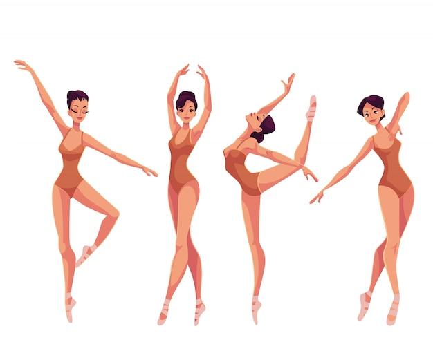 Zestaw młodych pięknych tancerek w rajstopach i kapciach baletowych