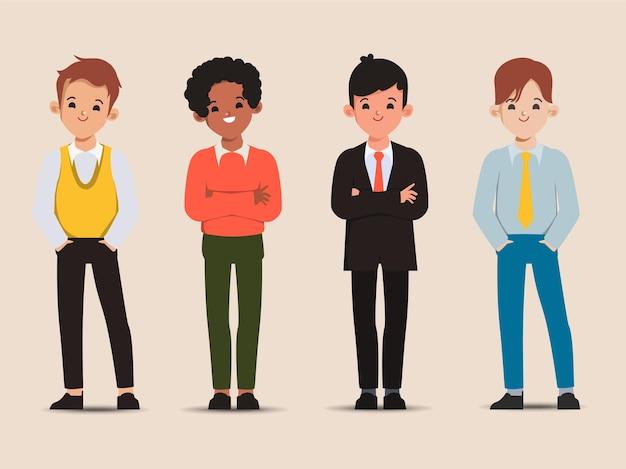 Zestaw młodych pracowników biurowych ładny biznesmen poza
