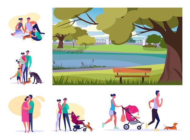 Zestaw młodych rodzin odpoczynku w lecie