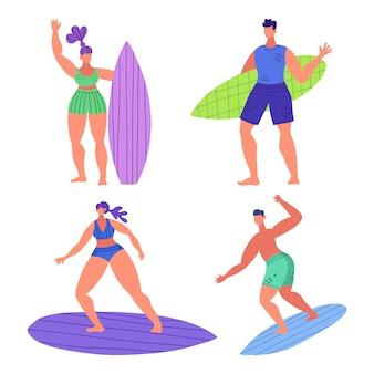 Zestaw młodych słodkie śmieszne ludzie surferów. kobiety i mężczyźni w strojach kąpielowych z deskami surfingowymi w różnych pozach i ubraniach.