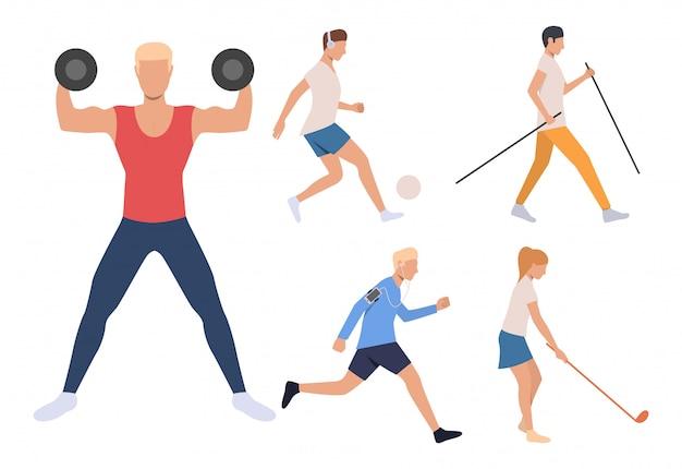 Zestaw młodych sportowców. mężczyźni i kobiety pracujący w siłowni