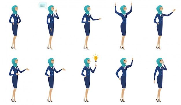 Zestaw młodych stewardess muzułmańskich