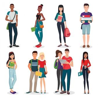 Zestaw młodych studentów