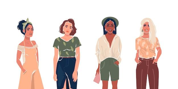 Zestaw młodych stylowych kobiet lub dziewcząt aktywistów feministycznych płaski izolowany wektor