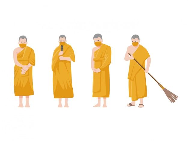 Zestaw mnichów. dystans społeczny, mnich trzyma dystans do ryzyka infekcji i chorób