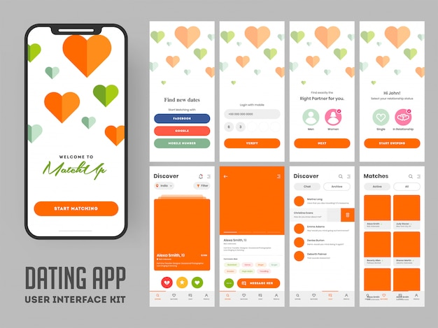 Zestaw mobilnego interfejsu użytkownika dating.