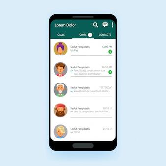 Zestaw mobilnego interfejsu użytkownika komunikator szablonu aplikacji czatu