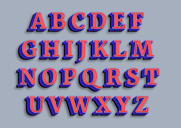 Zestaw mocnych, pogrubionych, zniekształconych alfabetów 3d