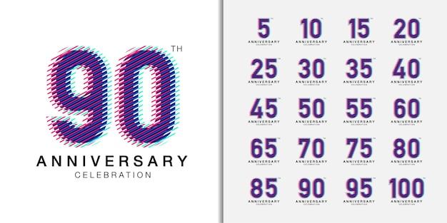 Zestaw modnego rocznicowego logotypu. wielokolorowe ikony obchodów rocznicy dla profilu firmy, ulotki, czasopisma, plakatu broszury, strony internetowej, zaproszenia lub karty z pozdrowieniami.