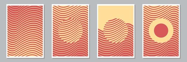 Zestaw modnych abstrakcyjnych kreatywnych minimal artystycznych ręcznie malowanych kompozycji do dekoracji ścian, pocztówek lub okładek broszury. ilustracja wektorowa.