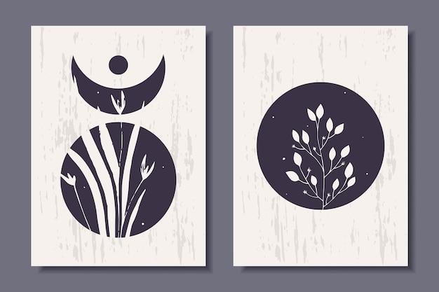 Zestaw modnych abstrakcyjnych plakatów z roślinami modern art