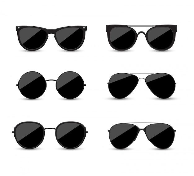 Zestaw modnych czarnych okularów przeciwsłonecznych. czarne okulary na białym tle.