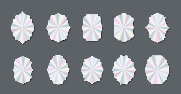 Zestaw modnych holograficznych kolorowych naklejek i naklejek o różnych kształtach