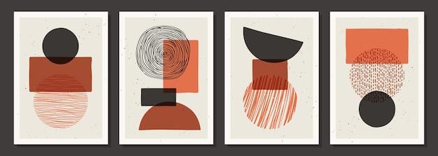 Zestaw modnych kolorowych plakatów z ręcznie rysowanymi teksturami wykonanymi tuszem, ołówkiem, pędzlem. geometryczne wzory plam, kropek, kresek, pasków, linii.