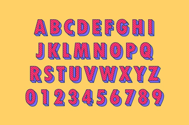 Zestaw modnych kreskówek alfabetu, czcionki 3d