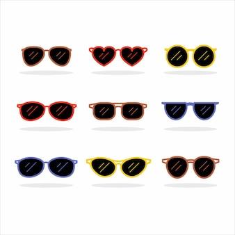 Zestaw modnych okularów przeciwsłonecznych o różnych kształtach, kolorach i okularach.