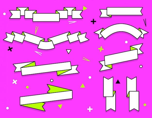 Zestaw modnych płaskich geometryczne wektor wstążki.