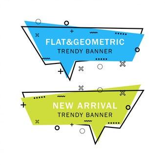 Zestaw modnych płaskich geometrycznych banerów