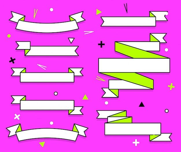 Zestaw modnych płaskich wstążek geometrycznych
