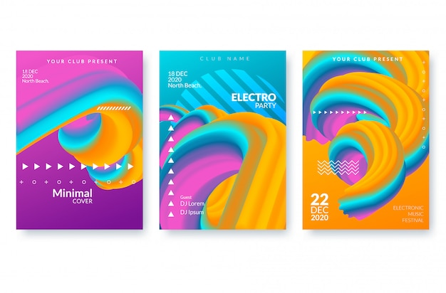 Zestaw modnych szablonów streszczenie plakat z kształtami 3d przepływu.