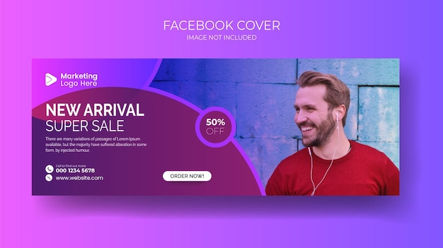 Zestaw mody męskiej na facebook cover design