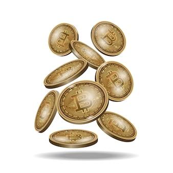 Zestaw monet bitcoin złota kryptowaluta cyfrowa, realistyczna ikona monety na czarnym tle.