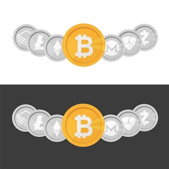 Zestaw monet z logo kryptowaluty - bitcoin, litecoin, ethereum, monero, zcash, kreska w jednym rzędzie na czarno-białym tle