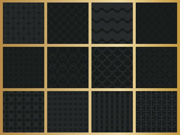 Zestaw monochromatyczne geometryczny wzór.