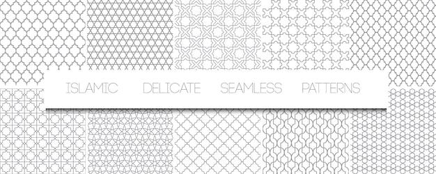 Zestaw monochromatycznych delikatnych islamskich wzorów bez szwu. geometryczne tradycyjne arabskie tła. powtarzające się orientalne ornamenty, tekstury, czarno-białe ozdoby