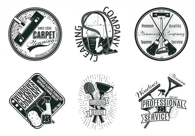 Zestaw monochromatycznych logo firmy sprzątającej