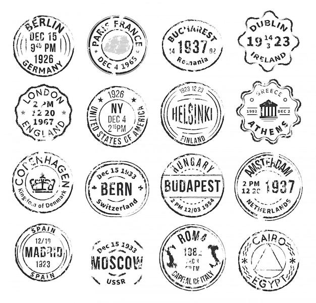 Zestaw monochromatycznych znaczków pocztowych na białym tle
