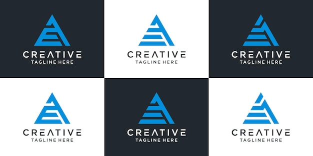 Zestaw monogram logo projekt litery ae w stylu trójkąta