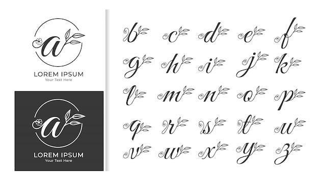 Zestaw monogram ozdobny luksusowy alfabet