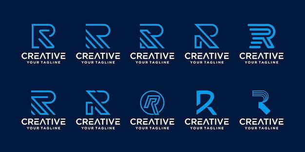 Zestaw monogram początkowej litery r rr logo szablon ikony dla biznesu z branży mody